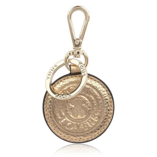 TOUS Leather Gold Lovers Circle Key Ring