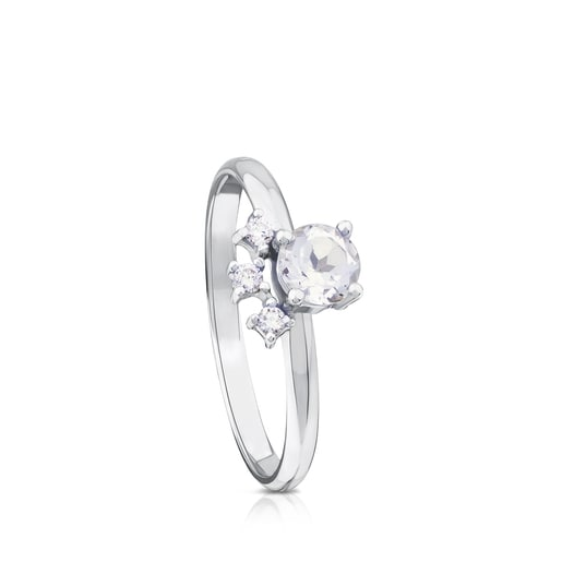 Anillo Eklat de Oro blanco con Diamantes y Topacio