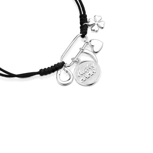 Bracelet TOUS Good Vibes Mama en Argent et Cordon noir
