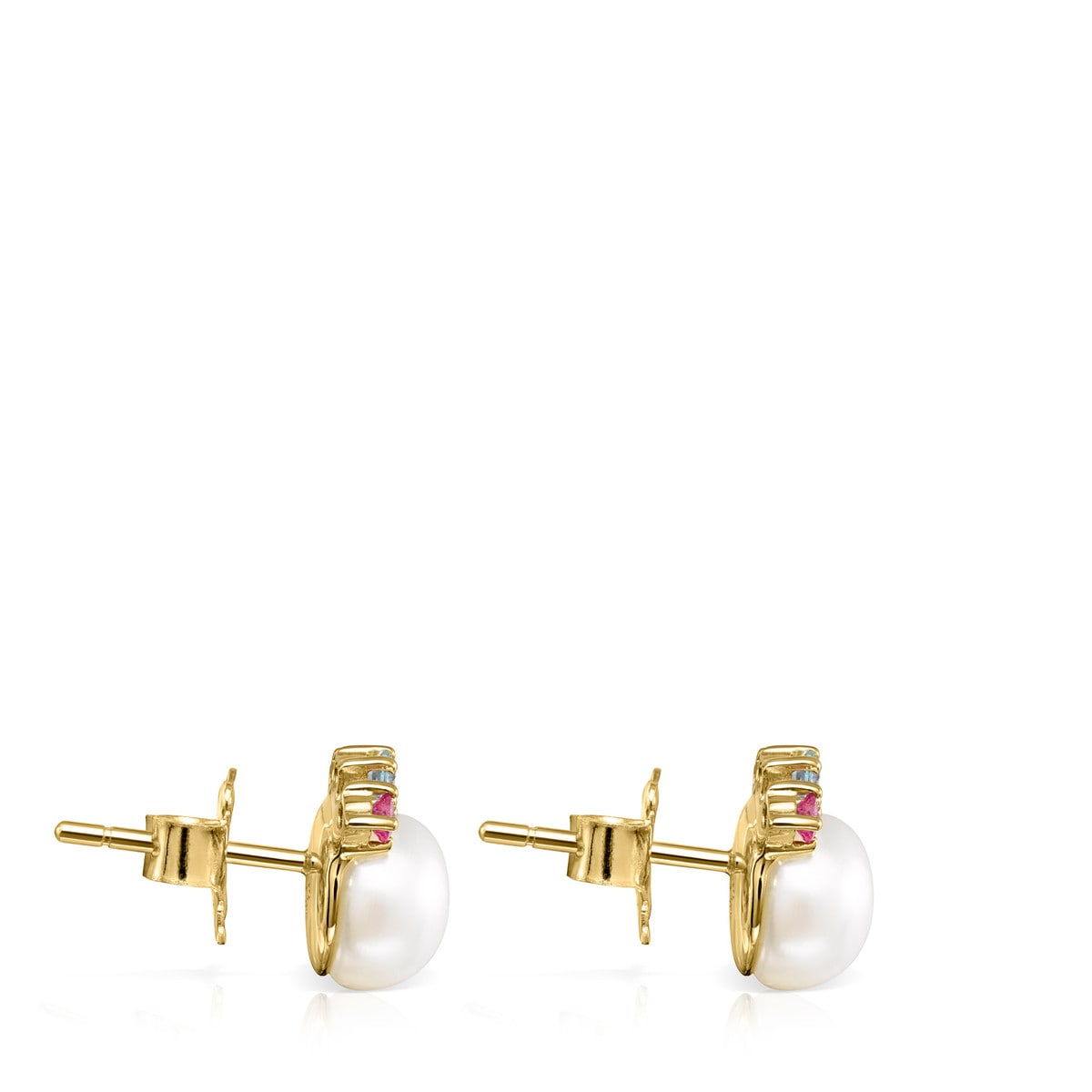 Gold Real Sisy Earrings with small Pearl and Gemstones