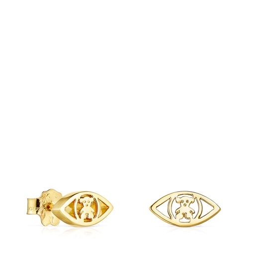 Gold TOUS Good Vibes eye Earrings
