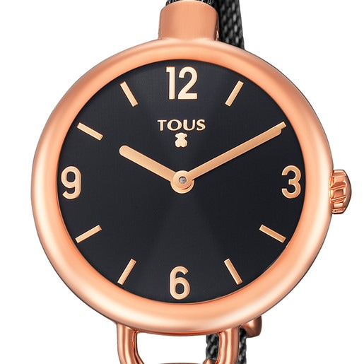 Pink IP Steel Hold Watch with black IP Steel strap