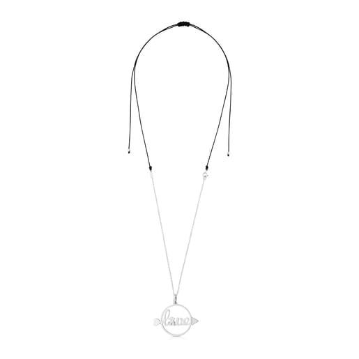 Collar San Valentín de Plata y cordón en color negro