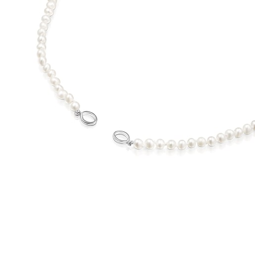 Silver Hold Necklace with Pearls