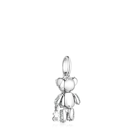 Dije Teddy Bear Gems de oro blanco con diamantes