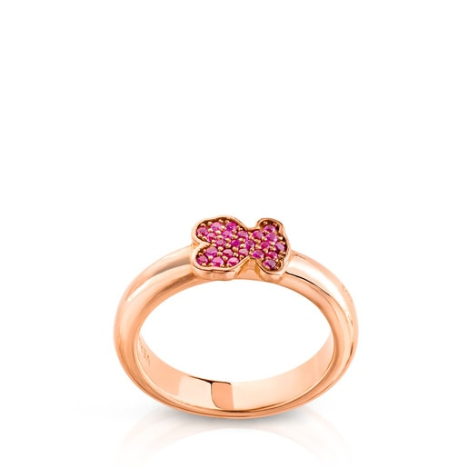 Pink Vermeil Silver Gen Ring with Ruby