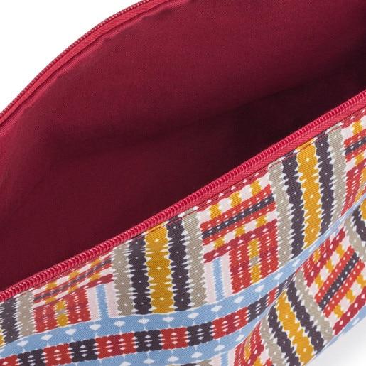 Μεσαίου μεγέθους τσάντα δύο όψεων Kaos Shock Tartan σε πολλές αποχρώσεις του κόκκινου