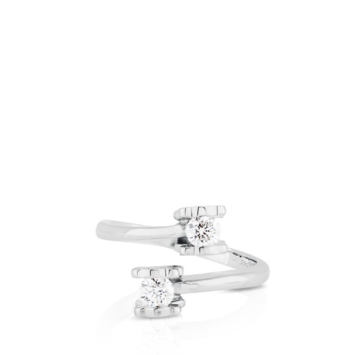 Doble solitario TOUS Diamonds de Oro blanco y Diamantes motivos Oso