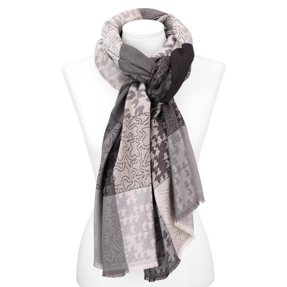 Foulard Mix en color gris-marfil