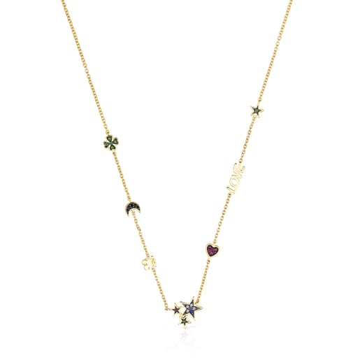 Silver Vermeil Teddy Bear Necklace with Gemstones