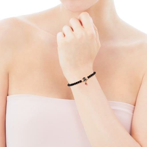 Rose Vermeil Silver TOUS Motif Bracelet with spinels and faceted onyx