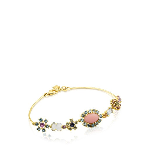 Gold Mini Teatime Bracelet with Gemstones