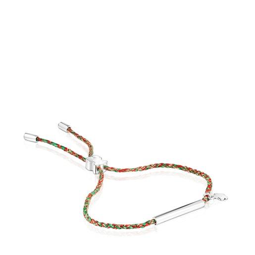 Pulsera TOUS Good Vibes flor de plata y cordón rojo