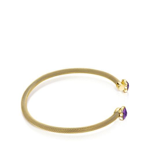 Bracelet Mesh Color étroit en Acier IP doré et Améthyste