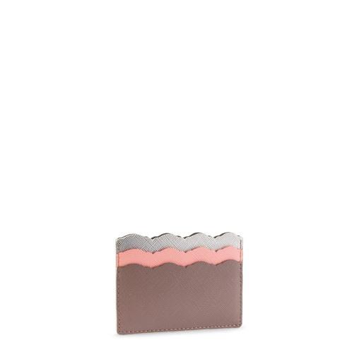 Θήκη καρτών Carlata σε ασημένιο-ροζ χρώμα