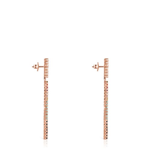 Aros largos Straight barra de Plata Vermeil rosa con Gemas