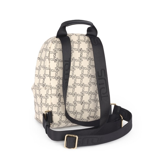 Small beige-black Tous Logogram backpack