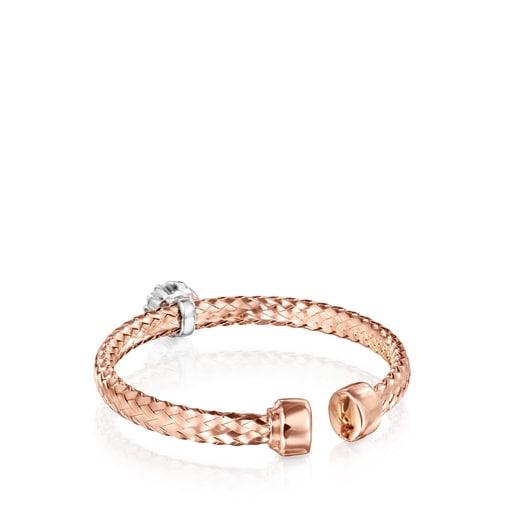 Anillo Light de Oro rosa con rosetón de Diamantes