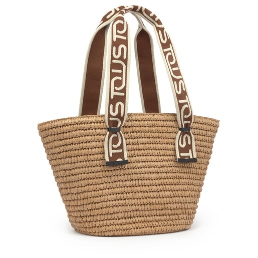 Large brown and natural colored TOUS Summer tote bag