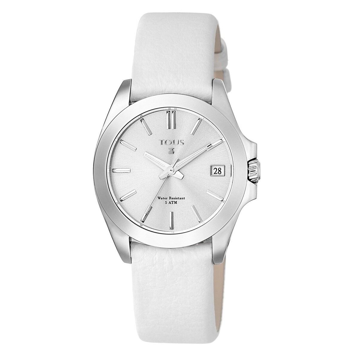 447dcf611e81 Reloj Drive 34 de acero con correa de piel marfil - Sitio web Tous ...