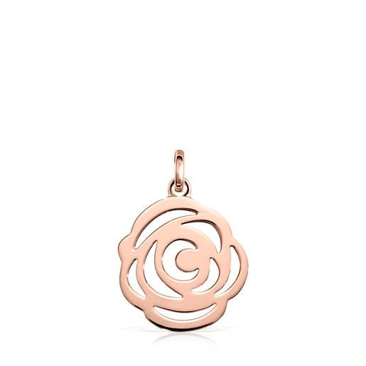 Kleiner Anhänger Rosa de Abril aus rosa Vermeil-Silber