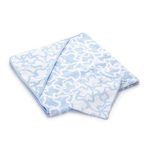 Kaos bath sheet and mittens in sky blue