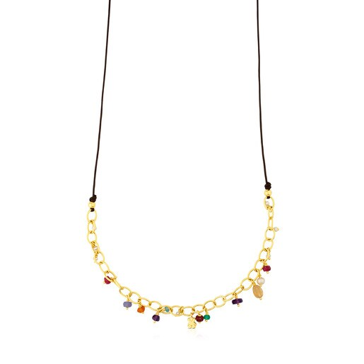 Vermeil Silver Elise Necklace with Gemstones and Pearls