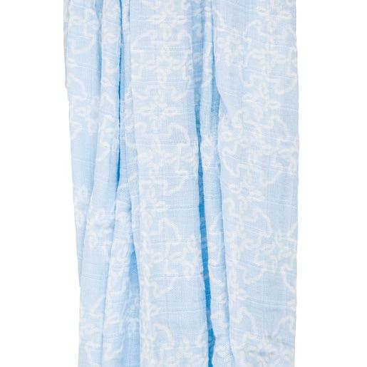 Mantilha com saco gaze Muse Azul Celeste