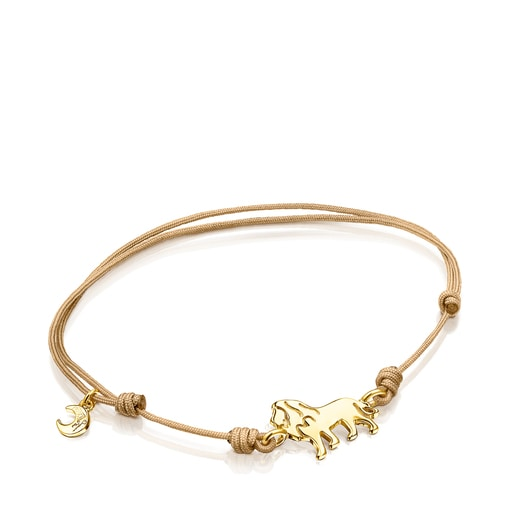 Silver Vermeil Save lion bracelet with beige Cord