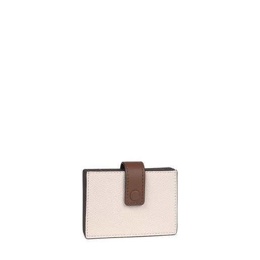 Tous Essential beige and brown accordion card holder