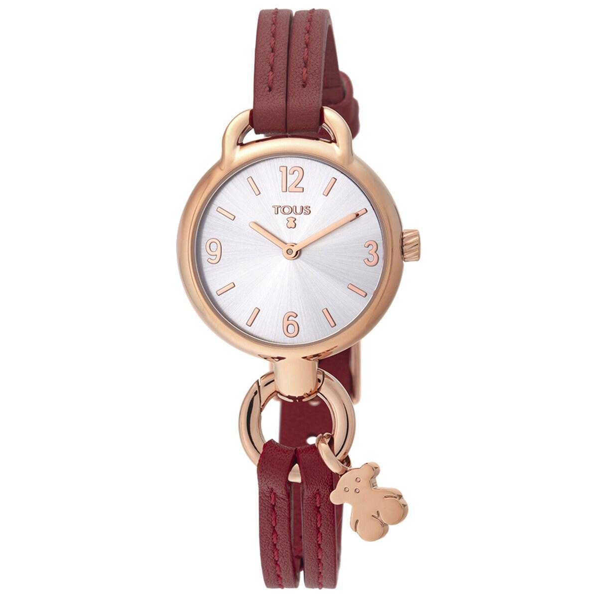 Ρολόι Hold από Ατσάλι με επιμετάλλωση σε ροζ χρώμα με κόκκινο Δερμάτινο λουράκι