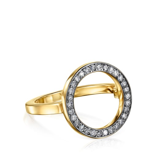 TOUS Nocturne disc Ring in Silver Vermeil with Diamonds 0.30ct