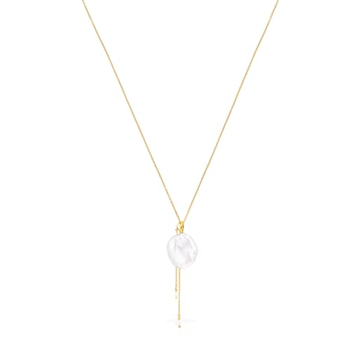 Collar Nenufar pétalo de plata vermeil y perla