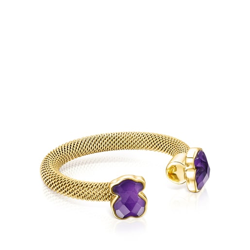 Gold-colored IP Steel Mesh Color open Ring with Amethyst