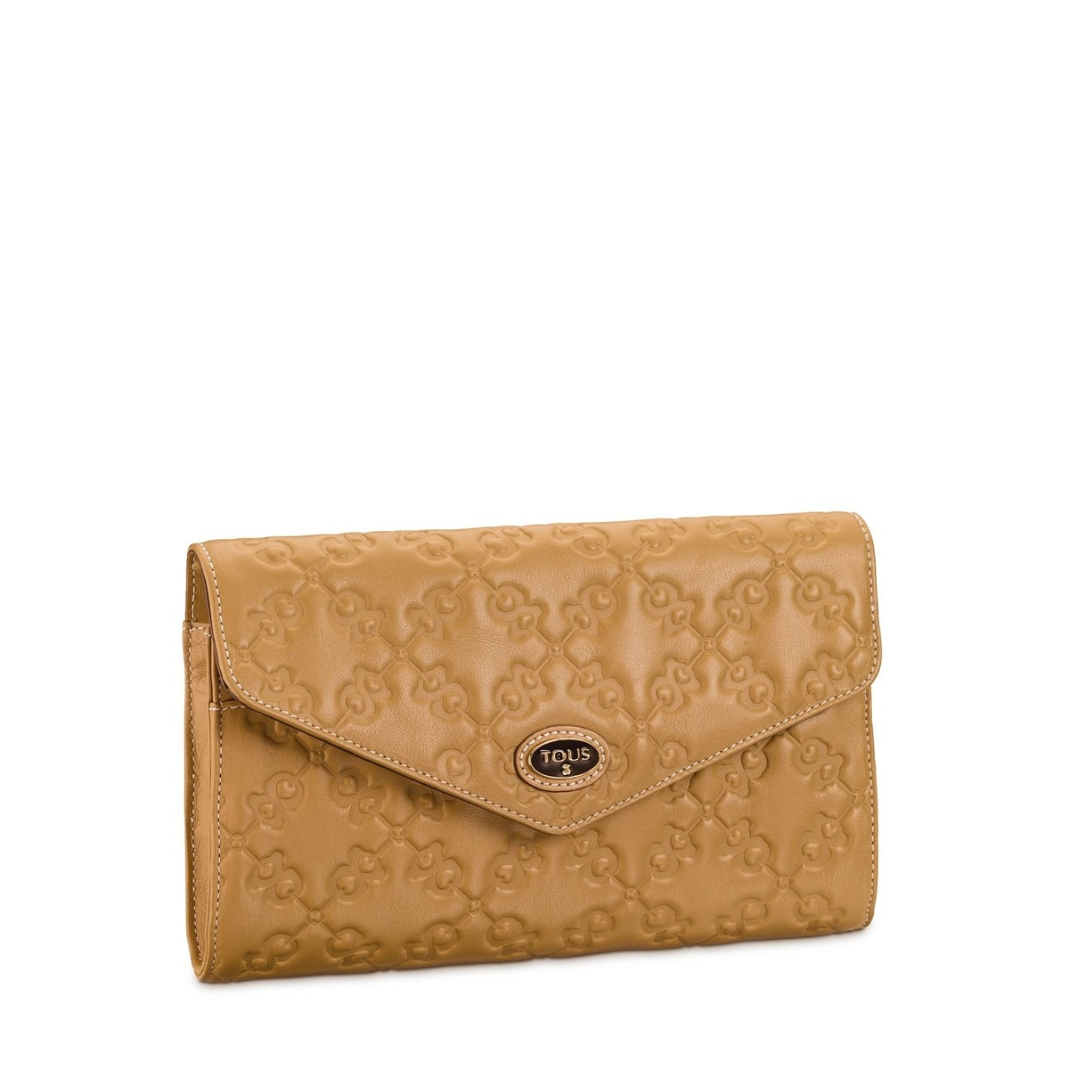 Camel colored Leather Infinit Clutch bag