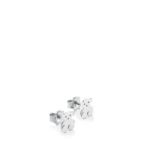 Pendientes botón Bear de Plata