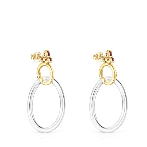 Boucles d'oreilles Luz en Or avec Rhodolite et Cristal