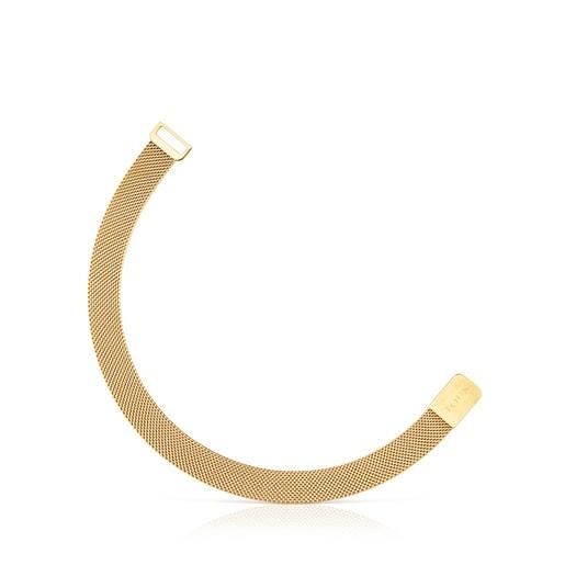 Gold-colored IP Steel Mesh Bracelet magnet closure