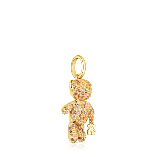 Silver Vermeil Teddy Bear Gems Pendant with Sapphires