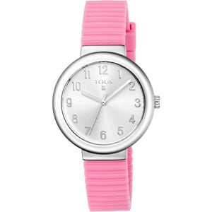 Steel Rainbow Watch with pink Silicone strap