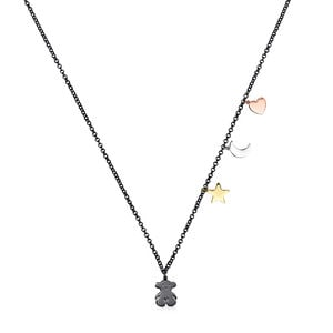 Dark Silver, Gold Vermeil, rose Gold Vermeil and Silver Sweet Dolls Necklace