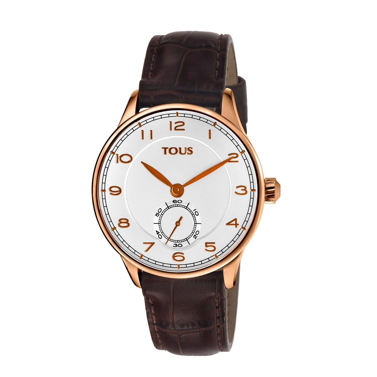 Uhr Corintho aus rosa IP Stahl mit braunem Lederarmband