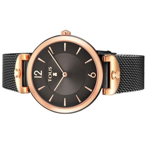 Ρολόι S-Mesh από Ατσάλι με επιμετάλλωση σε μαύρο χρώμα