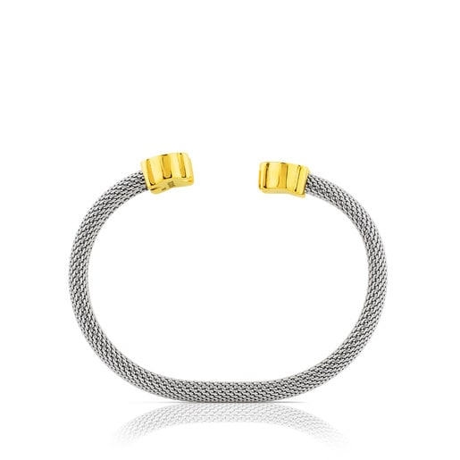 Mesh Steel and Gold Bangle