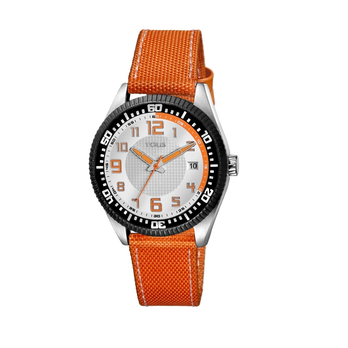 Steel Scuba Watch with orange Nylon strap