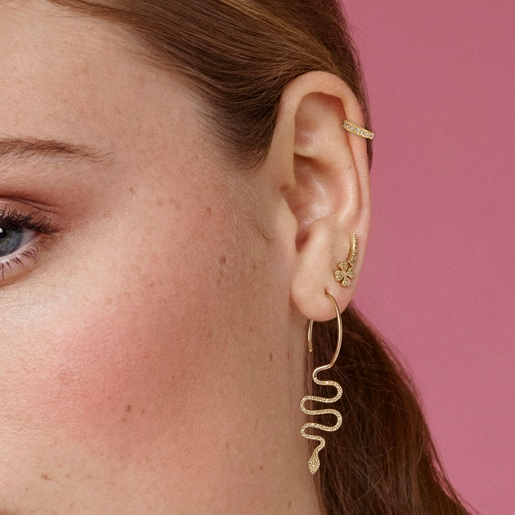 Gold TOUS Good Vibes serpent 1/2 Earring with Diamonds