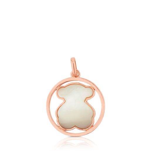 Rose Vermeil Silver Camille Pendant with Mother-of-Pearl Bear motif