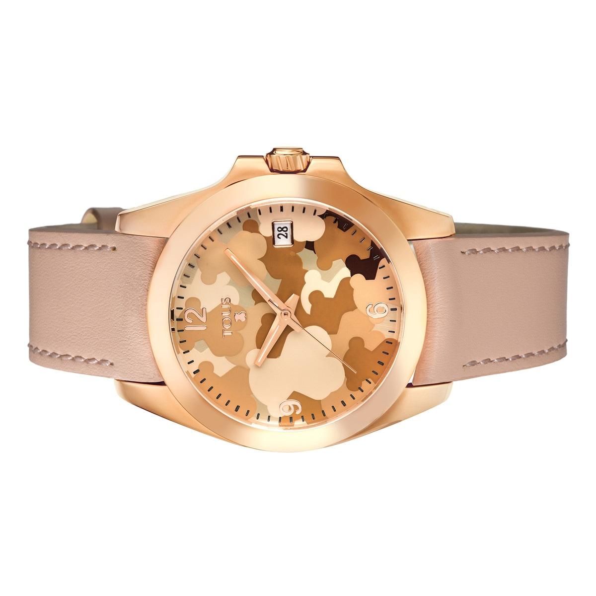 d238bb7c5277 Reloj Drive Camuflaje de acero IP rosado con correa de piel nude ...