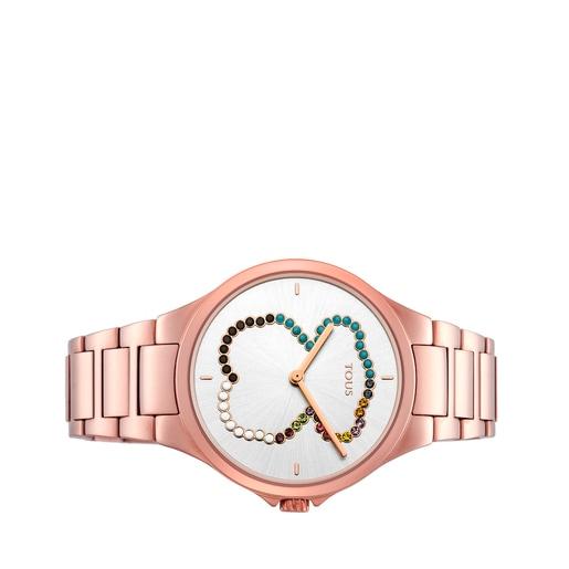 Ρολόι-αρκουδάκι Motion Straight από Ατσάλι με επιμετάλλωση σε ροζ χρώμα με κρύσταλλα