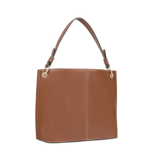 Large beige and brown TOUS Icon One shoulder bag